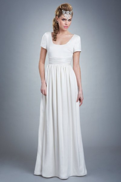 Wedding Dresses, Fashion, Gown, Cap sleeves, Buttons, Scoop neck, Silk, Textured, Olia zavozina, short sleeves, caitlin, classic shape, clean lines, Silk Wedding Dresses