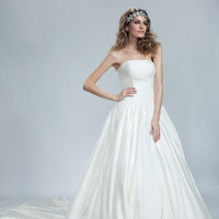 Wedding Dresses, Ball Gown Wedding Dresses, Romantic Wedding Dresses, Fashion, Train, Romantic, Strapless, Strapless Wedding Dresses, Princess, Buttons, Crystal, Full skirt, Ball gown, Olia zavozina, drop waist, silk shantug