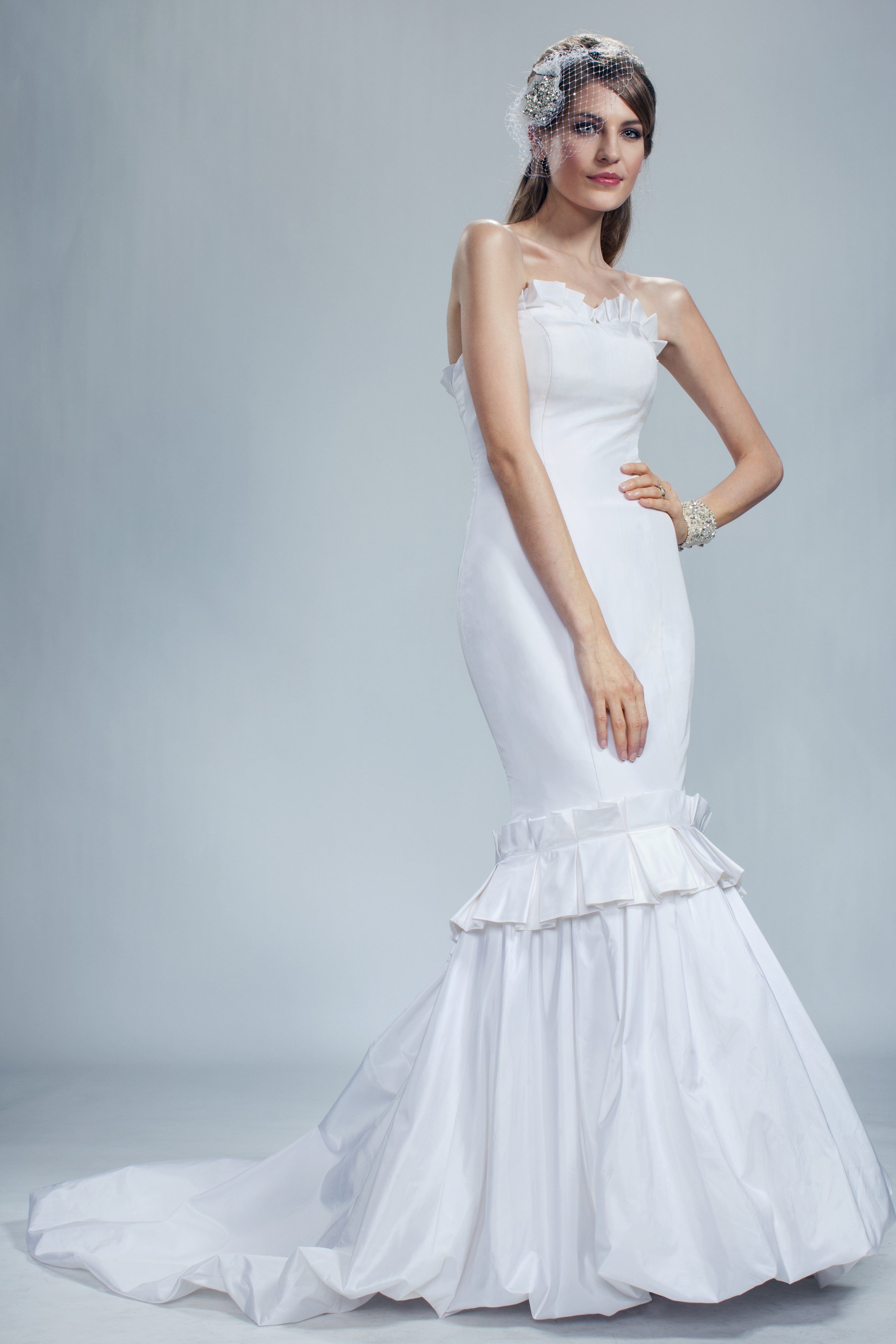Wedding Dresses, Fashion, Strapless, Strapless Wedding Dresses, Buttons, Trumpet, Silk, Olia zavozina, silk taffeta, pleated belt, Silk Wedding Dresses