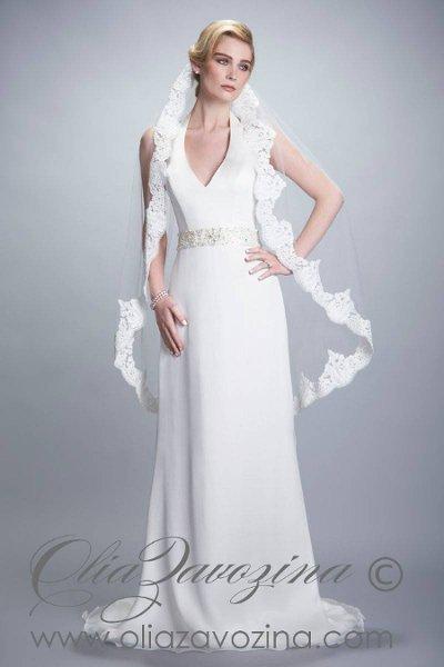 Wedding Dresses, Fashion, Pearls, Halter, Silk chiffon, Olia zavozina, embellished waist, V-neckline, low back, halter wedding dresses, silk charmeuse, deep v-neckline, natural waistline