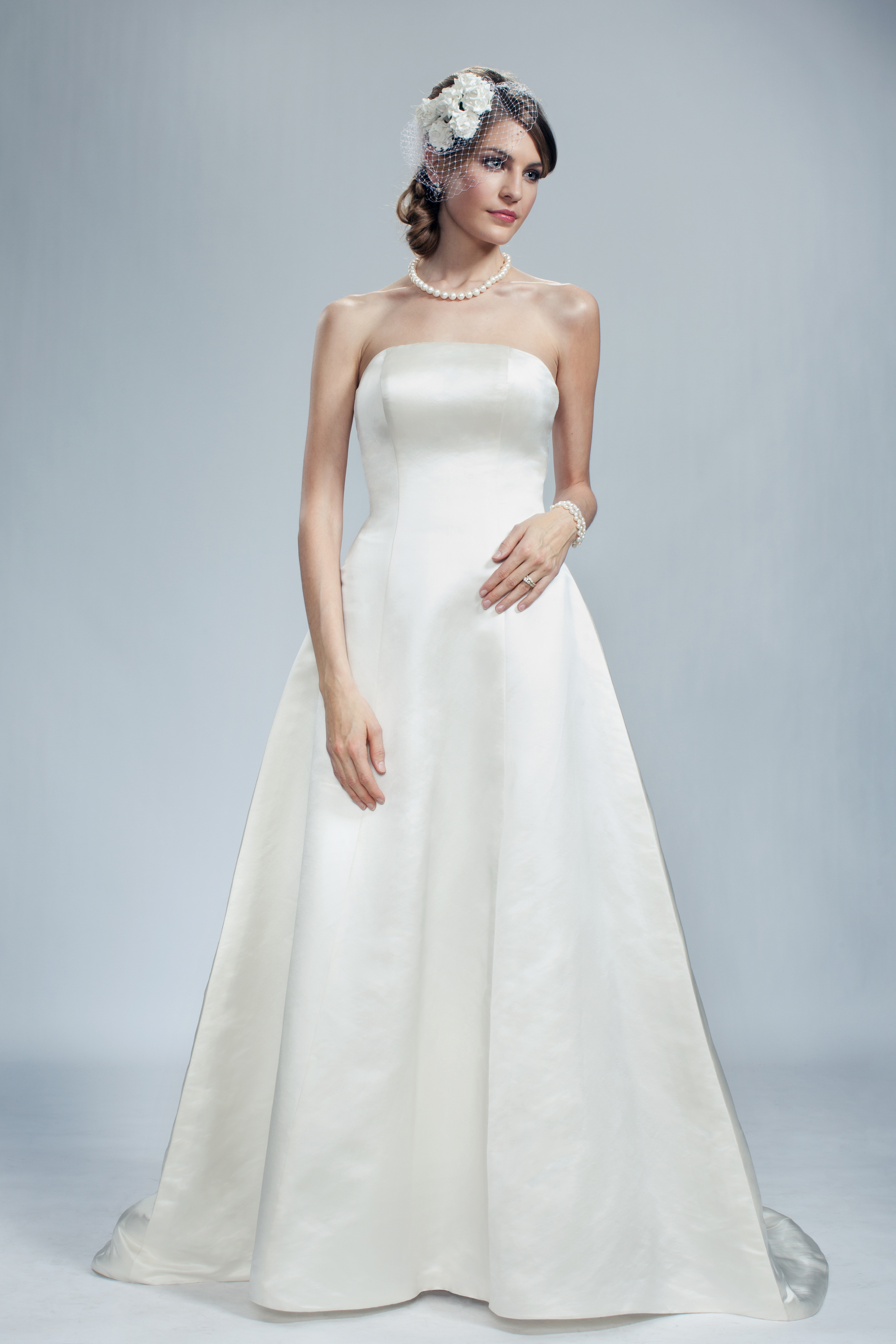 Wedding Dresses, A-line Wedding Dresses, Fashion, Classic, Strapless, Strapless Wedding Dresses, A-line, Princess, Satin, Olia zavozina, low back, Classic Wedding Dresses, duchess gown, satin buttons, satin wedding dresses