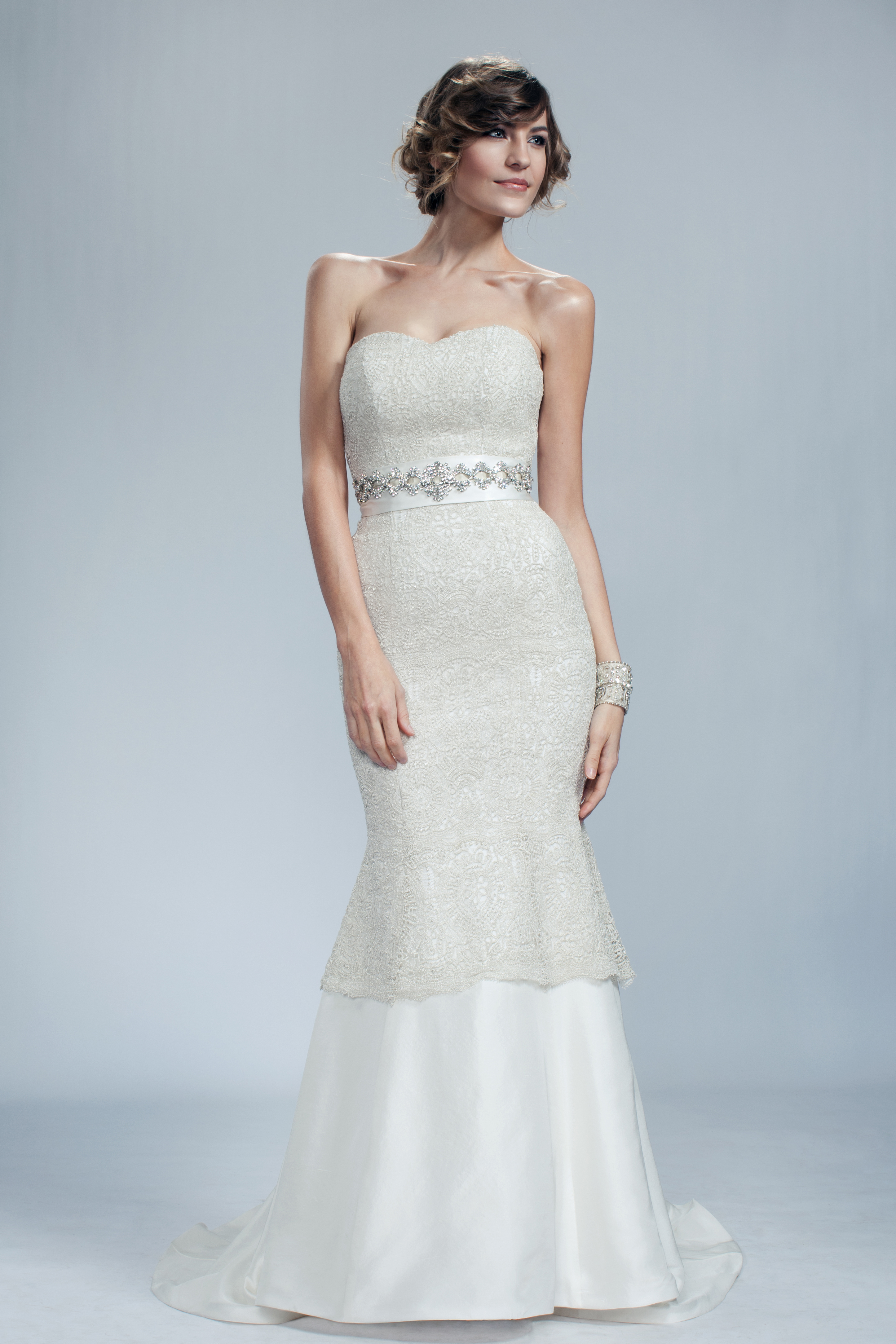 Timeless Luxury is a silk shantung silver luxury lace gown