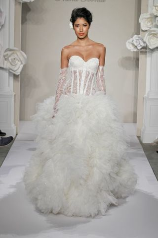 Wedding Dresses, Sweetheart Wedding Dresses, A-line Wedding Dresses, Fashion, Sweetheart, Strapless, Strapless Wedding Dresses, A-line, Corset, Tulle, Pnina tornai, dropped waist, ruffled skirt, beaded embroidery, cathedral train, tulle wedding dresses