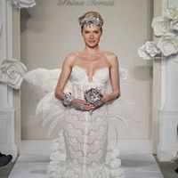 Wedding Dresses, Sweetheart Wedding Dresses, Fashion, Feathers, Mermaid, Sweetheart, Strapless, Strapless Wedding Dresses, Pnina tornai, dropped waist, beaded embellishments, cathedral train, french lace, lace ruffles, Feather Wedding Dresses