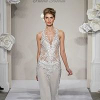 Wedding Dresses, Fashion, V-neck, V-neck Wedding Dresses, Sheath, Pnina tornai, Tank top, Silk chiffon, chapel train, dropped waist, Jeweled straps, beaded embroidery, Sheath Wedding Dresses