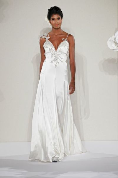 Wedding Dresses, Fashion, Spaghetti straps, Beading, V-neck, V-neck Wedding Dresses, Sheath, Pnina tornai, chapel train, beaded embroidery, Beaded Wedding Dresses, silk charmeuse, Spahetti Strap Wedding Dresses, Sheath Wedding Dresses