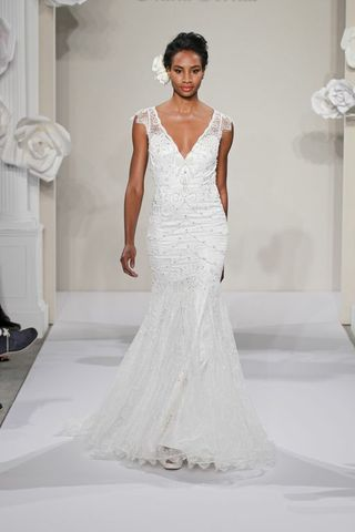 Wedding Dresses, Fashion, Cap sleeves, V-neck, V-neck Wedding Dresses, Sheath, Pnina tornai, sweep train, beaded embroidery, chantilly lace, silk satin, Sheath Wedding Dresses