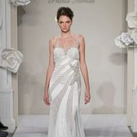 Wedding Dresses, Sweetheart Wedding Dresses, Fashion, Sweetheart, Spaghetti straps, Stripes, Pnina tornai, chapel train, empire waist, beaded embroidery, silk charmeuse, star detail, Spahetti Strap Wedding Dresses