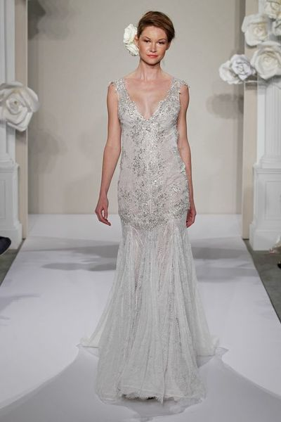Wedding Dresses, Fashion, Beading, V-neck, V-neck Wedding Dresses, Sheath, Pnina tornai, Tank top, Silk chiffon, chapel train, dropped waist, beaded embroidery, Beaded Wedding Dresses, Sheath Wedding Dresses