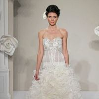 Wedding Dresses, Sweetheart Wedding Dresses, A-line Wedding Dresses, Ruffled Wedding Dresses, Fashion, Sweetheart, Strapless, Strapless Wedding Dresses, A-line, Ruffles, Pnina tornai, dropped waist, Beaded bodice, beaded embroidery, cathedral train, silk organza