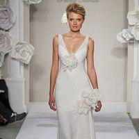 Wedding Dresses, A-line Wedding Dresses, Fashion, A-line, V-neck, V-neck Wedding Dresses, Natural waist, Silk, Sleeveless, Pnina tornai, chapel train, 3D flowers, illusion straps, Silk Wedding Dresses