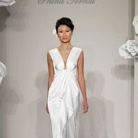 Wedding Dresses, Fashion, V-neck, V-neck Wedding Dresses, Sleeveless, Ruffle, Pnina tornai, Tank top, chapel train, empire waist, silk charmeuse, cinched bust