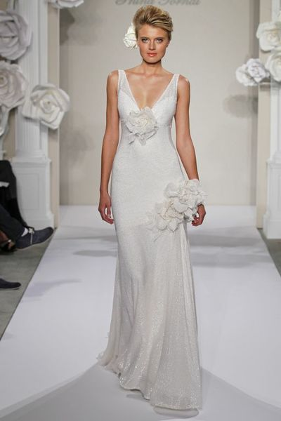 Wedding Dresses, A-line Wedding Dresses, Fashion, A-line, V-neck, V-neck Wedding Dresses, Natural waist, Silk, Sleeveless, Pnina tornai, chapel train, 3D flowers, illusion straps, Silk Wedding Dresses