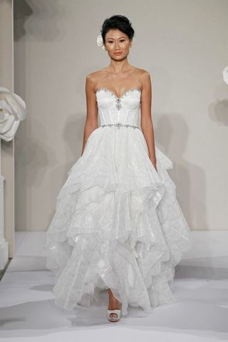 Wedding Dresses, Sweetheart Wedding Dresses, A-line Wedding Dresses, Fashion, Sweetheart, Strapless, Strapless Wedding Dresses, A-line, Beading, Corset, Natural waist, Pnina tornai, layered skirt, sweep train, Beaded Wedding Dresses, chantilly lace
