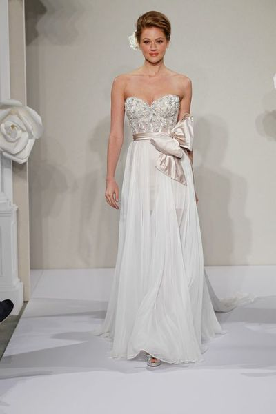 Wedding Dresses, Sweetheart Wedding Dresses, A-line Wedding Dresses, Fashion, Sweetheart, Strapless, Strapless Wedding Dresses, A-line, Sash, Natural waist, Bow, Pnina tornai, Silk chiffon, chapel train, Beaded bodice, beaded embroidery