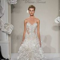 Wedding Dresses, Sweetheart Wedding Dresses, Fashion, Mermaid, Sweetheart, Strapless, Strapless Wedding Dresses, Corset, Organza, Pnina tornai, chapel train, dropped waist, ruffled skirt, layered skirt, beaded embroidery, organza wedding dresses