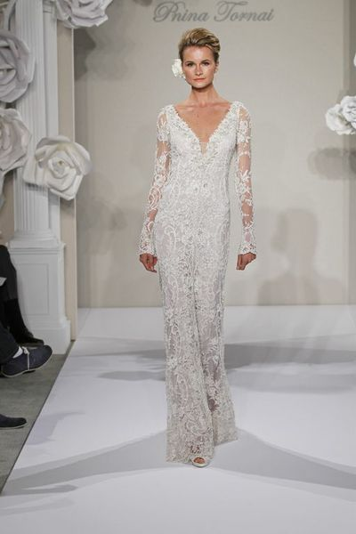 Wedding Dresses, Lace Wedding Dresses, Fashion, Lace, V-neck, V-neck Wedding Dresses, Sheath, Silk, Long sleeves, Pnina tornai, sweep train, illusion sleeves, beaded embroidery, Sheath Wedding Dresses, Silk Wedding Dresses