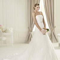 Wedding Dresses, A-line Wedding Dresses, Lace Wedding Dresses, Fashion, Lace, Strapless, Strapless Wedding Dresses, A-line, Beading, Belt, Pronovias, Beaded Wedding Dresses, Pronovias Costura