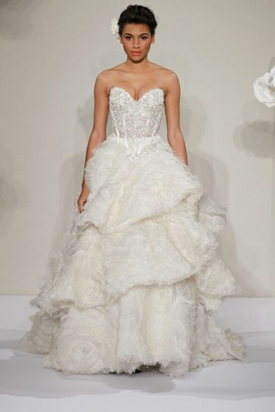Wedding Dresses, Sweetheart Wedding Dresses, A-line Wedding Dresses, Fashion, Sweetheart, Strapless, Strapless Wedding Dresses, A-line, Corset, Natural waist, Pnina tornai, chapel train, layered skirt, beaded embroidery, textured skirt, silk organza