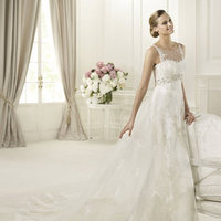 Wedding Dresses, Fashion, Pronovias, illusion neckline, empire waist, lace straps, Pronovias Costura, gemstone embroidery