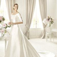 Wedding Dresses, A-line Wedding Dresses, Fashion, A-line, Beading, Pronovias, Scoop, Beaded Wedding Dresses, Pronovias Costura, soft mikado silk, three-quarter sleeves, Scoop Neckline Wedding Dresses