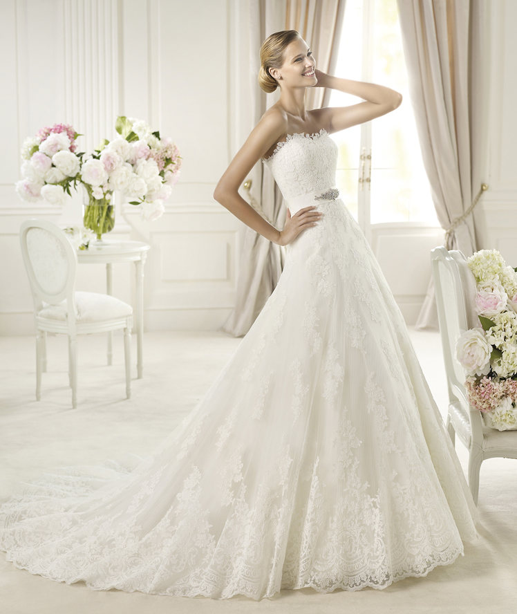 Wedding Dresses, Sweetheart Wedding Dresses, A-line Wedding Dresses, Fashion, Sweetheart, Strapless, Strapless Wedding Dresses, A-line, Beading, Pronovias, Beaded Wedding Dresses, Pronovias Costura, gorsgrain belt