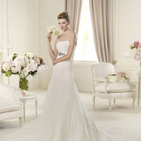 Wedding Dresses, A-line Wedding Dresses, Lace Wedding Dresses, Fashion, Lace, Strapless, Strapless Wedding Dresses, A-line, Tulle, Pronovias, Beaded belt, Pronovias Costura, tulle wedding dresses