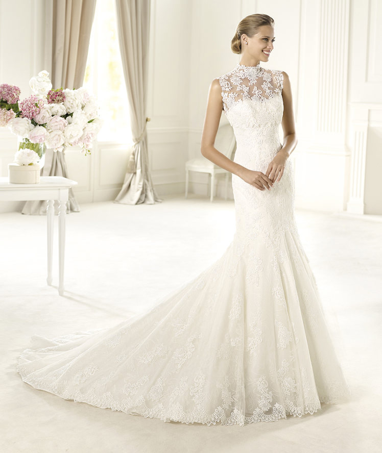Wedding Dresses, Sweetheart Wedding Dresses, Lace Wedding Dresses, Fashion, Mermaid, Lace, Sweetheart, Pronovias, Sleeveless, illusion neckline, high-neck, High Neck Wedding Dresses, Pronovias Costura