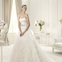 Wedding Dresses, A-line Wedding Dresses, Fashion, Strapless, Strapless Wedding Dresses, A-line, Pronovias, Feather, pleated bust, soft tulle, grosgrain ribbon belt, feathered skirt, Pronovias Dreams