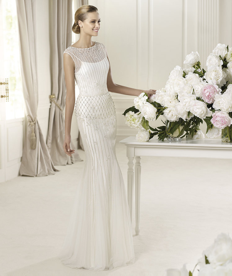 Wedding Dresses, Fashion, Spaghetti straps, Tulle, Pronovias, Sleeveless, bateau, Bateau Wedding Dresses, Pronovias Fashion, vertical embroidery, tulle wedding dresses, Spahetti Strap Wedding Dresses