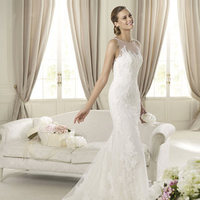 Wedding Dresses, Lace Wedding Dresses, Fashion, Mermaid, Lace, Pronovias, Sleeveless, bateau, sheer neckline, floral lace, Bateau Wedding Dresses, Pronovias Fashion, sheer straps