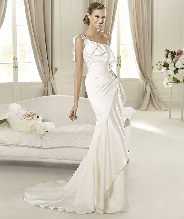 Wedding Dresses, One-Shoulder Wedding Dresses, Fashion, Mermaid, Satin, Pronovias, One-shoulder, ruffled bust, gemstone embroidery, Pronovias Fashion, embroidered strap, satin wedding dresses
