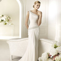 Wedding Dresses, One-Shoulder Wedding Dresses, Fashion, Mermaid, Chiffon, Pronovias, Gemstone, One-shoulder, beaded waist, beaded strap, Pronovias Fashion, asymmetrical waist, Chiffon Wedding Dresses