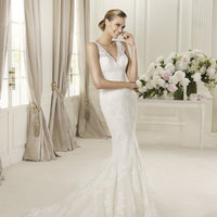 Wedding Dresses, Lace Wedding Dresses, Fashion, Mermaid, Lace, V-neck, V-neck Wedding Dresses, Pronovias, Sleeveless, lace straps, Pronovias Fashion