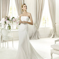 Wedding Dresses, A-line Wedding Dresses, Fashion, Strapless, Strapless Wedding Dresses, A-line, Chiffon, Pronovias, Bow, dropped waist, Pronovias Fashion, Chiffon Wedding Dresses