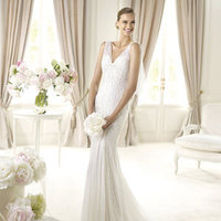 Wedding Dresses, Fashion, Mermaid, V-neck, V-neck Wedding Dresses, Tulle, Pronovias, Sleeveless, Pronovias Fashion, tulle straps, tulle wedding dresses