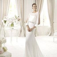 Wedding Dresses, Fashion, Chiffon, Pronovias, Long sleeves, Beaded belt, bateau, Bateau Wedding Dresses, Pronovias Fashion, Chiffon Wedding Dresses