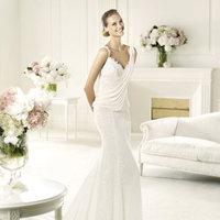 Wedding Dresses, Lace Wedding Dresses, Fashion, Lace, V-neck, V-neck Wedding Dresses, Chiffon, Pronovias, draped bodice, beaded strap, Pronovias Fashion, Chiffon Wedding Dresses
