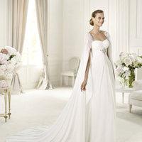 Wedding Dresses, A-line Wedding Dresses, Fashion, A-line, Chiffon, Pronovias, Cape, square neck, cinched bust, Pronovias Fashion, beaded brooch, Chiffon Wedding Dresses