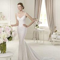 Wedding Dresses, Fashion, V-neck, V-neck Wedding Dresses, Sheath, Chiffon, Pronovias, Embellishments, lace straps, Pronovias Fashion, Sheath Wedding Dresses, Chiffon Wedding Dresses