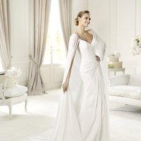 Wedding Dresses, A-line Wedding Dresses, Fashion, A-line, V-neck, V-neck Wedding Dresses, Pronovias, Cape, beaded straps, criss-cross bodice, Pronovias Fashion