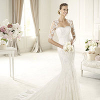Wedding Dresses, Lace Wedding Dresses, Fashion, Mermaid, Lace, Pronovias, tulle jacket, Pronovias Fashion, scallop detail
