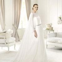 Wedding Dresses, Fashion, Belt, Chiffon, Pronovias, beaded waist, Pronovias Fashion, short cape, draped waist, Chiffon Wedding Dresses