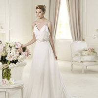Wedding Dresses, A-line Wedding Dresses, Fashion, A-line, V-neck, V-neck Wedding Dresses, Pronovias, Sleeveless, Beaded belt, draped bodice, beaded straps, Pronovias Fashion