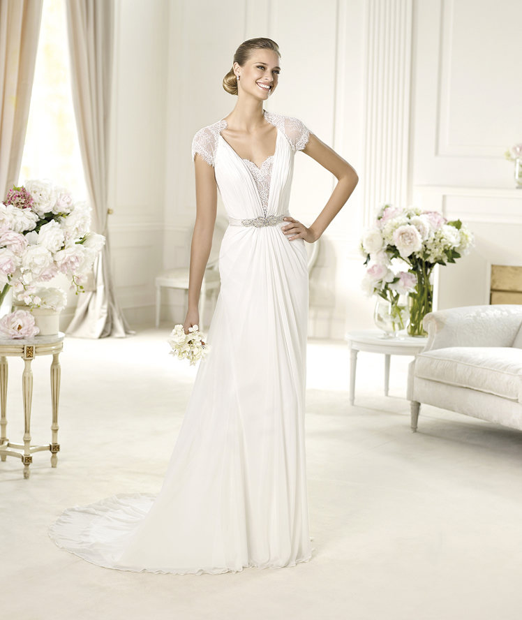 This delicate chiffon and lace wedding dress has a for Around the neck wedding dresses