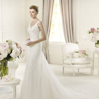 Wedding Dresses, Fashion, Mermaid, V-neck, V-neck Wedding Dresses, Pronovias, Sleeveless, lace straps, Pronovias Fashion