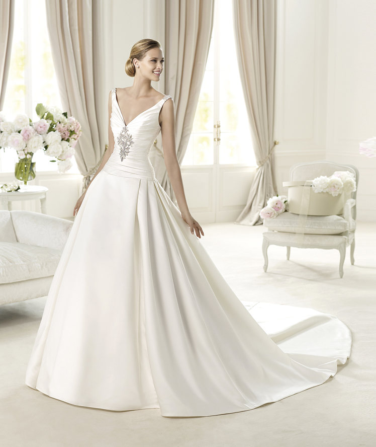 A-line, V-neck, Satin, Pronovias, Sleeveless, pleated skirt, ruched bodice, tank straps, Pronovias Glamour, silver beading