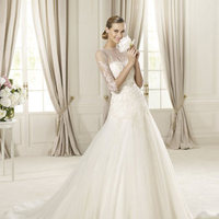 A-line, Embroidery, Pronovias, Bow, illusion neckline, bateau, illusion sleeves, Pronovias Glamour, embroidered sleeves