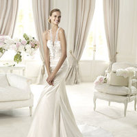 Mermaid, Beading, V-neck, Satin, Pronovias, Sleeveless, ruched bodice, beaded straps, Pronovias Glamour