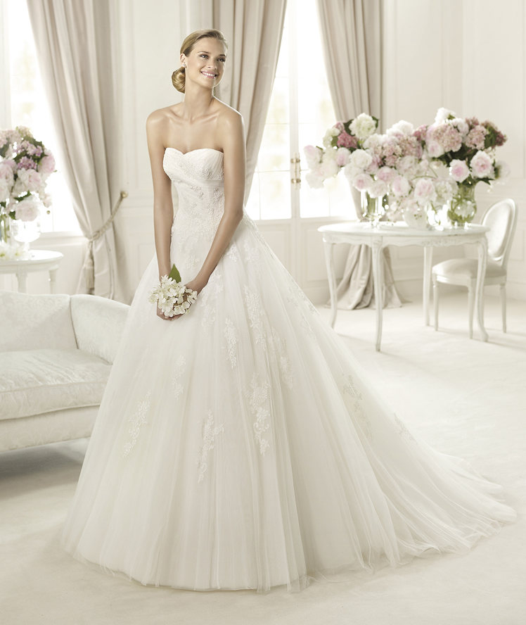 Lace, Sweetheart, Strapless, Tulle, Pronovias, Princess cut, Pronovias Glamour